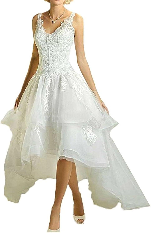 XYHDTQ Simple High Low Wedding Dress V Neck Lace Applique Bridal Gown