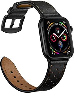 Mifa Leather Band Compatible with Apple Watch 5 4 40mm 38mm iwatch Series 3 2 1 Replacement Strap Dressy Classic Bands Buckle Vintage Band with Black Stainless Steel Adapters (40mm/38mm, Black)