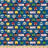 Marvel 0763940 Kawaii II Hero Faces & Logo Fabric Stoff,