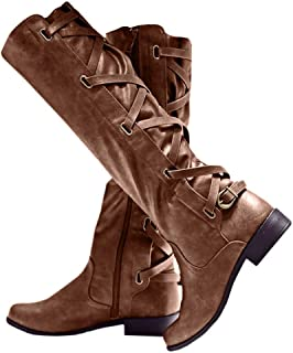 Women/'s Cowboy Boots Casual Shoes Lace Up Chunky Heel Knee High Boots Large Size