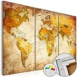 murando Weltkarte Pinnwand & Vlies Leinwand Bild 120x80 cm