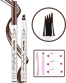 Eyebrow Tattoo Pen,Microblading Eyebrow Pen Microblade Eyebrow Pencil Waterproof & Smudge-Proof With Four Micro-Fork Tips Applicator for Daily Natural Eye Makeup