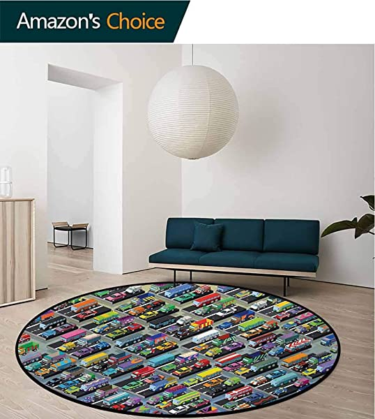 RUGSMAT Cars Modern Washable Round Bath Mat Detailed Collection Of Various Vehicles Parked Cars Buses Trucks Vans In Many Colors Non Slip Bathroom Soft Floor Mat Home Decor Diameter 71 Inch