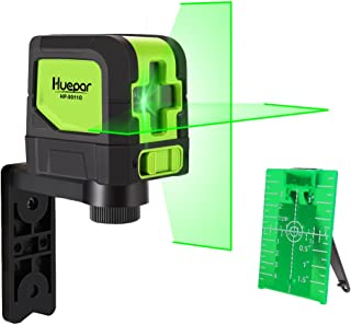 Huepar Cross Line Laser - DIY Self-Leveling Green Beam Horizontal and Vertical Line Laser Level with 100 Ft Visibility, Bright Laser with Magnetic Pivoting Base and Laser Target -9011G