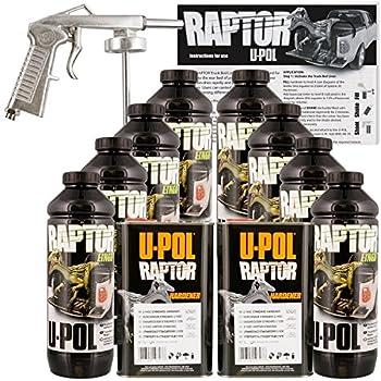 U-Pol Raptor Black Urethane Spray-On Truck Bed Liner Kit w/Free Spray Gun 8 Liters