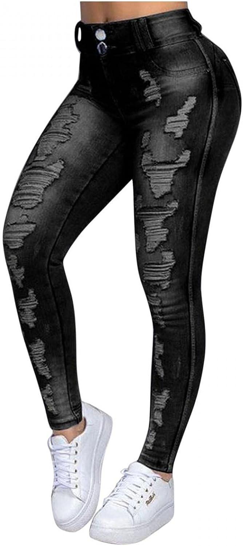 LEIYAN Womens Ripped Skinny Jeans Stretch High Waist Destroyed Denim Pants Slim Pencil Pants Leggings