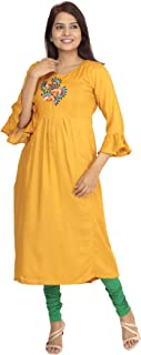 dc0e9ab3ce South India SHOPPING MALL Women Mustard Resham Embroidery Cotton Silk Kurti