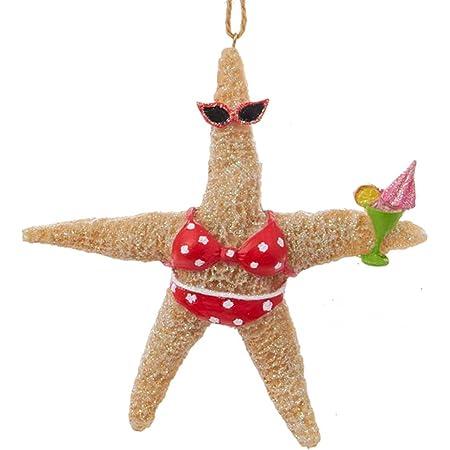 Starfish beach girl santa ornament Beach decor Coastal Christmas Christmas coastal
