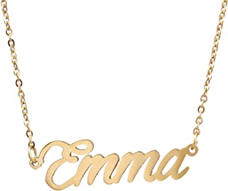 AOLO Personalized Custom Name Necklace Script Initial Nameplate Necklace Jewelry for Girls Womens