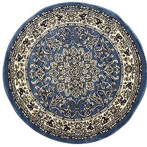 Deir Debwan Traditional Round Persian Area Rug Blue Burgundy Beige (330,000 Point) Design 603 (4 Feet X 4 Feet Round)