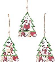 3 Pcs Wood Christmas Ornaments Christmas Tree Decoration Baubles Xmas Wooden Decoration Painted Pendant Ornament