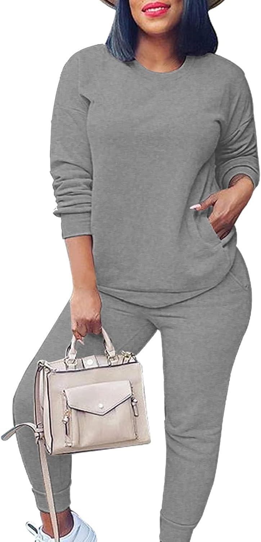 Fixmatti Women's 2 Piece Sweatsuit Long Sleeve Shirts Jogger Pant Set Tracksuit
