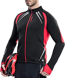 Santic Men's Cycling Jacket Windproof Fleece Thermal Winter Bike Bicycle Jersey Yellow