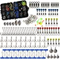 216pcs/box Fishing Accessories Tackle Box Set, Including Circle Hooks, Treble Hooks, Sinker Weights, Ball Bearing Swivels, Sinker Slides, Stainless Steel Split Rings,Fishing Line Beads