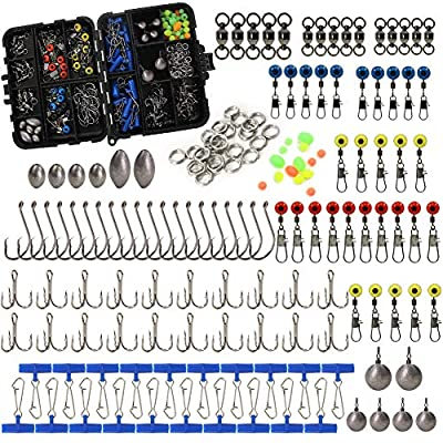 216pcs/box Fishing Accessories Tackle Box Set, Including Circle Hooks, Treble Hooks, Sinker Weights, Ball Bearing Swivels, Sinker Slides, Stainless Steel Split Rings,Fishing Line Beads