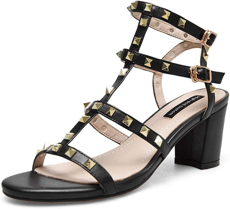 Exing Women's shoes Leather Summer Fall shoes Rivet Buckle Roman Sandals Chunky Heel Open Toe Metal Block Heel Sandals for Office & Career Dress Sandals