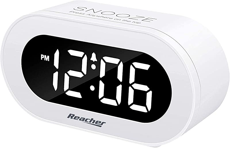 Reacher Small LED Digital Alarm Clock With Snooze Simple To Operate Full Range Brightness Dimmer Adjustable Alarm Volume Outlet Powered Compact Clock For Bedrooms Bedside Desk Shelf White