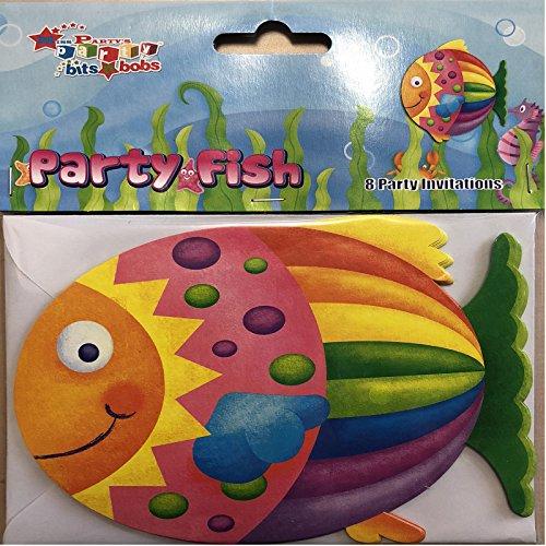 Unbekannt 8 Einladungskarten * Fisch * für Kindergeburtstag und Motto-Party // Einladungen Seepferdchen Wasser Konfirmation bunt Regenbogenfisch Seestern Meer Strand Mädchen Jungen Kindergarten