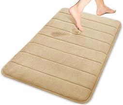 (1, Beige) - Yimobra Maximum Absorbency Bath Mats Memory Foam Large Size 80cm X 50cm Non Slip Beige with Wall Hooks 3 Pack