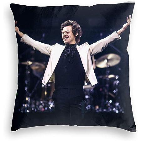KWELRP Harry Styles - Funda de almohada de estilo casual con cremallera cuadrada suave con cierre decorativo (dos lados) 45 x 45 cm