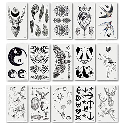 Chileeany Set di 15 fogli Tatuaggi temporanei,impermeabile tatuaggio temporaneo per adulti uomo donne 105×60 mm (bianco)