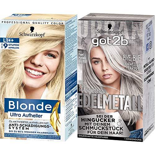 Schwarzkopf Blonde Ultra Aufheller L1++, 143 ml + got2b Schwarzkopf Haarfarbe Edelmetall M71 pearl metallic silber, 1er Pack (1 x 142ml)