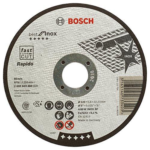Bosch Professional Trennscheibe Rapido A 60 W Inox BF 125mm x 0,8mm gerade 2608603488, 1 W, 240 V, 125 mm