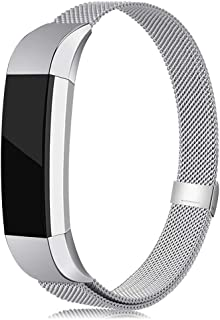 LNOOIU Bands Compatible with Fitbit Alta,  Replacement for Alta HR Stainless Steel Bands Adjustable Accessory Wristband for Alta Bracelet Women Men Girls Boys (Silver Small)