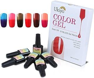 Ukiyo - 6 frascos de esmalte semipermanente soak-off de 8ml para lámpara UV o LED variación de temperatura de color 12