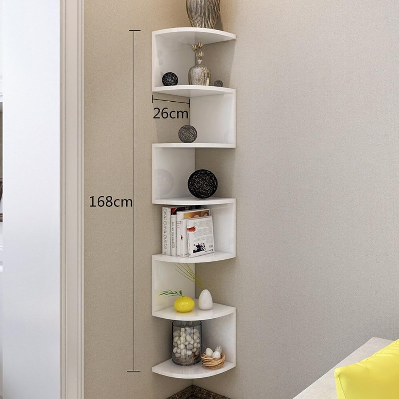Feifei Bookshelf Multifunction Corner Shelf Wall Hanging Storage Rack (color   White, Size   168  26CM)