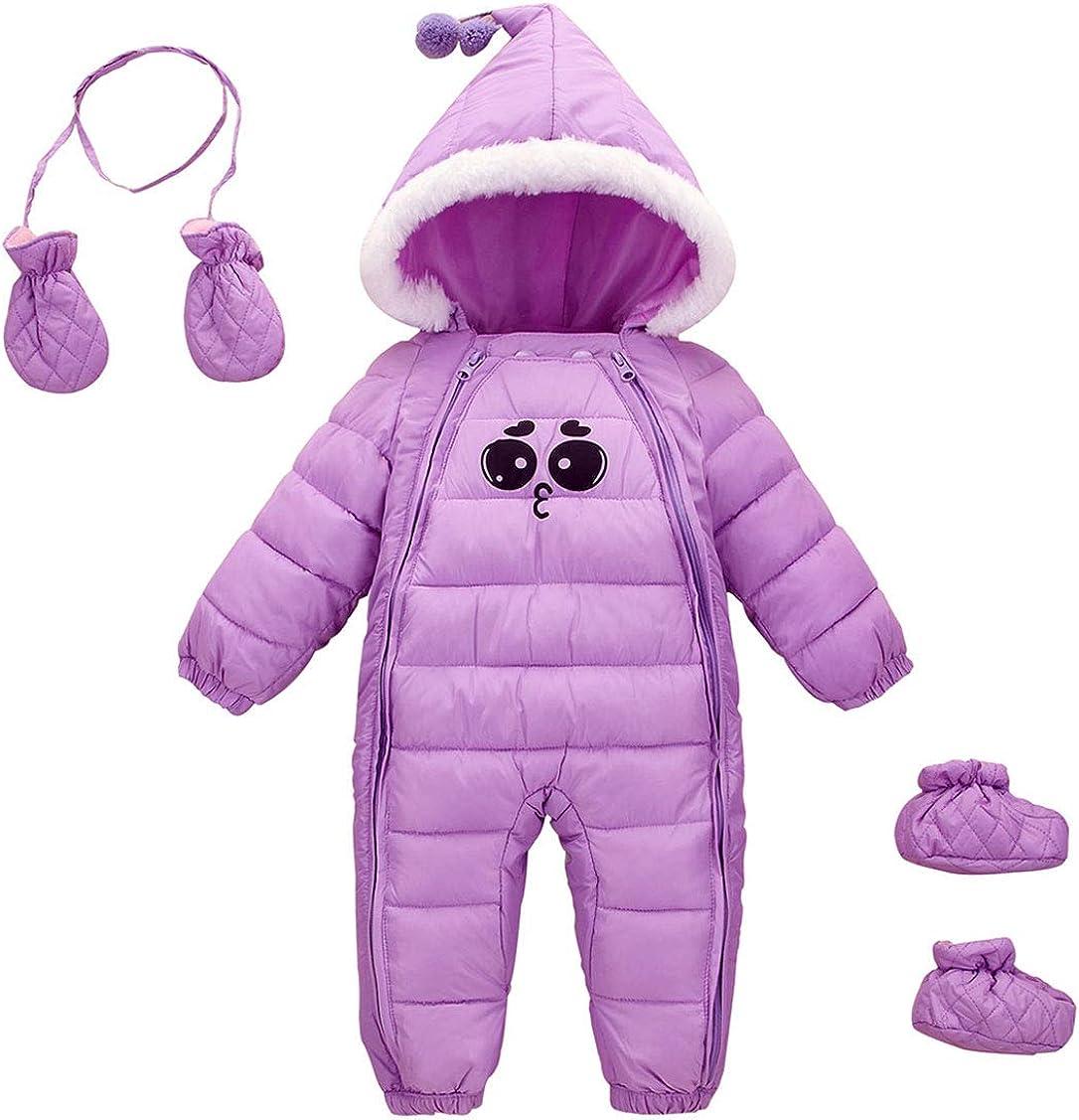 Happy Cherry Baby Adorable Hoodie Jumpsuit Snow Suit Winter Zip Up Long Sleeve 3 Pcs Coat