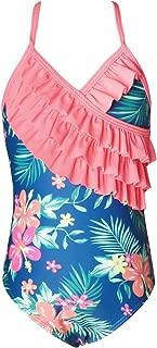 Girls One Piece Unicorn Swimsuits Hawaiian Ruffle Swimwear Bathing Suit