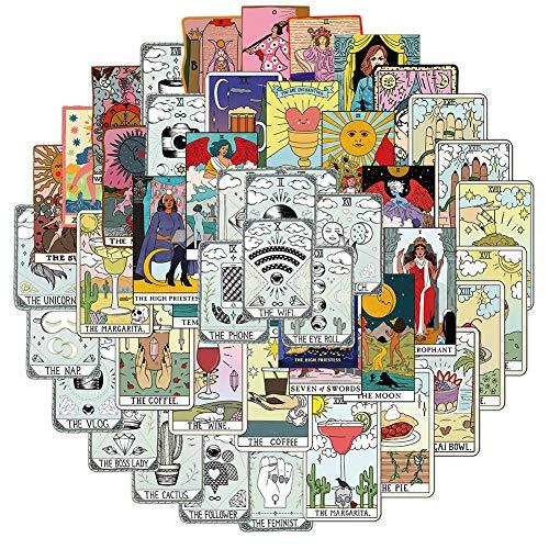 50Pcs Tarot Card Stickers, Trendy Stickers for Journaling Water Bottles Laptop Guitar Computer Phone, Waterproof Vinyl Stickers Packs