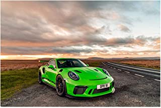 Porsche 911 GT3 RS UK Spec (2018) Car Art Poster Print on 10 Mil Archival Satin Paper Green Front Side Static View (18