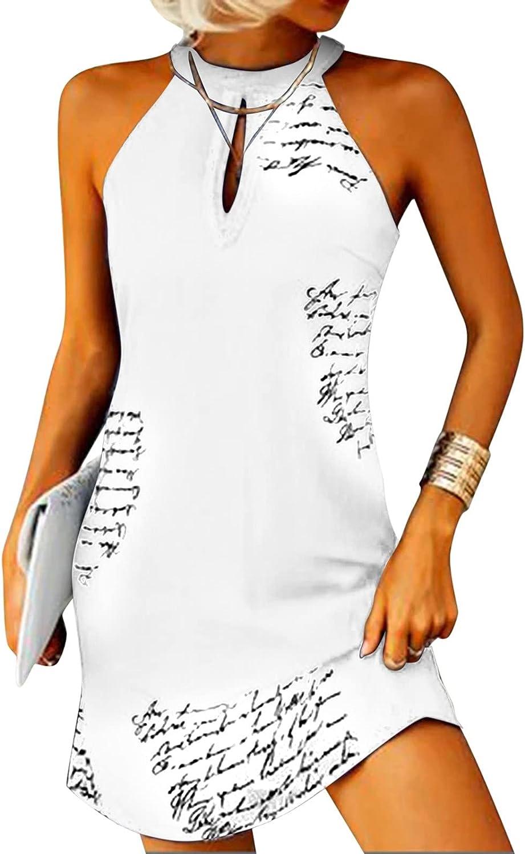 Eoailr Women's Boho Dress Superior Beach Halter Sleeveless Flor Sexy Neck Over item handling