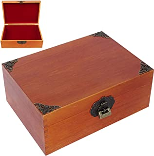 WINGOFFLY Large Wooden Treasure Box Trunk Box Stash Boxes for Jewelry Storage Cards Collection Gifts and Home Decoration, Blank