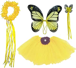 Enchantly Girls Yellow Butterfly Fairy Costume - Wings, Wand, Halo Age 3-8