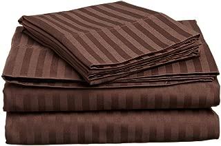 Rajlinen Luxury Egyptian Cotton 5PCs Split Bed Sheet Set 650-Thread-Count Sateen Finish Split King Size Pocket Depth (+22 Inch) Chocolate Stripe
