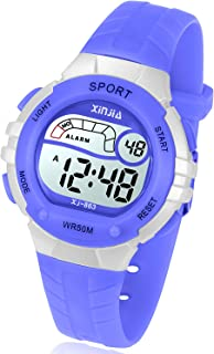 Kids Digital Watch, Girls Boys 50M(5ATM) Waterproof Multi-Functional WristWatches for Children(Pink/Red/Purple/Blue/Black)