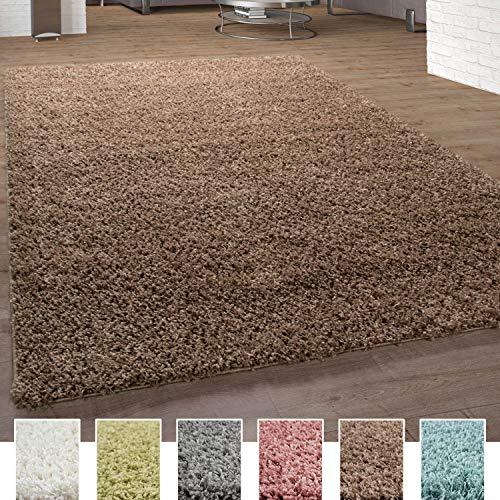 Paco Home Shaggy Teppich Hochflor Langflor Teppiche Hochwertig Pastell Uni Versch. Farben, Grösse:140x200 cm, Farbe:Taupe