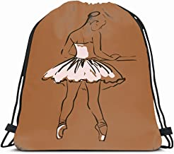 Ahawoso Gym Drawstring Bags Backpack String Bag 14X16 Ballet Painting Drawing Sketch Girls Ballerina Standing Pose People Actress Beautiful Beauty Black Sport Sackpack Hiking Yoga Travel Beach