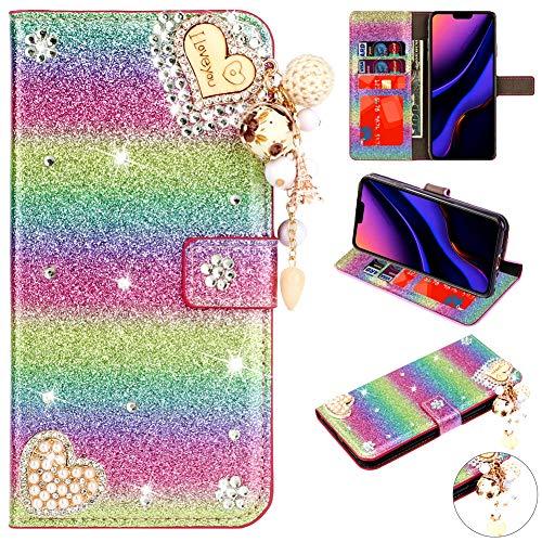 Modisch Leder für Samsung A70,Bling Glitter Glitzer Diamond Musterg Slim Retro Bookstyle Stand Funktion Karteneinschub Magnet Flip Wallet Hülle