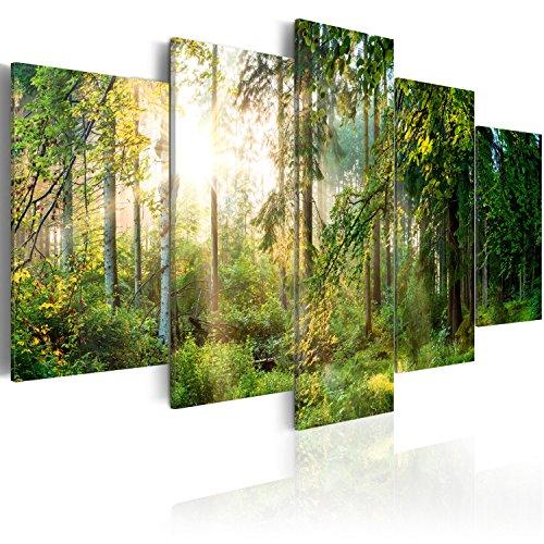 murando - Bilder 200x100 cm Vlies Leinwandbild 5 TLG Kunstdruck modern Wandbilder XXL Wanddekoration Design Wand Bild - Landschaft Wald Natur Bäume c-C-0033-b-n