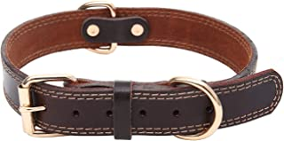 Shorven Genuine Soft Leather Dog Collar Walking Training Collars for Small Medium Large Dogs
