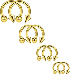 Ruifan 8-24PCS 14G Surgical Steel Nose Septum Horseshoe Hoop Earring Eyebrow Tragus Lip Piercing Ring Balls & Spikes 8-14mm