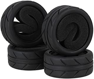 "BQLZR 2.56"" OD Black RC 1:10 Arrows Pattern Rubber Tyre Tire fit On Road Racing Car Pack of 4"