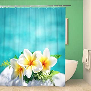 Awowee Bathroom Shower Curtain Frangipani Flowers Border Over Blue Water Spa Still Life Polyester Fabric 60x72 inches Waterproof Bath Curtain Set with Hooks
