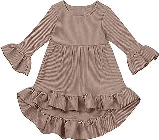 bilison Toddler Baby Girl Dress Flare Long Sleeve Solid Color Irregular Sundress Party PrincessDress