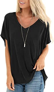 Womens Short Sleeve Tops Dolman V Neck T-Shirts Summer Casual