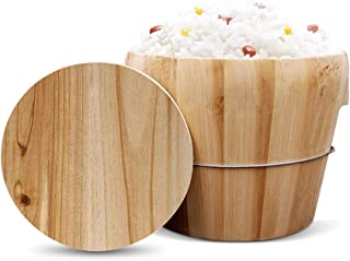 XMYZ Wooden Handmade Rice Bowl Bucket Home Kitchen Steamed LidHome cooking rice barrel restaurant commercial cutlery Steamed Rice Cooker + Flat Wood